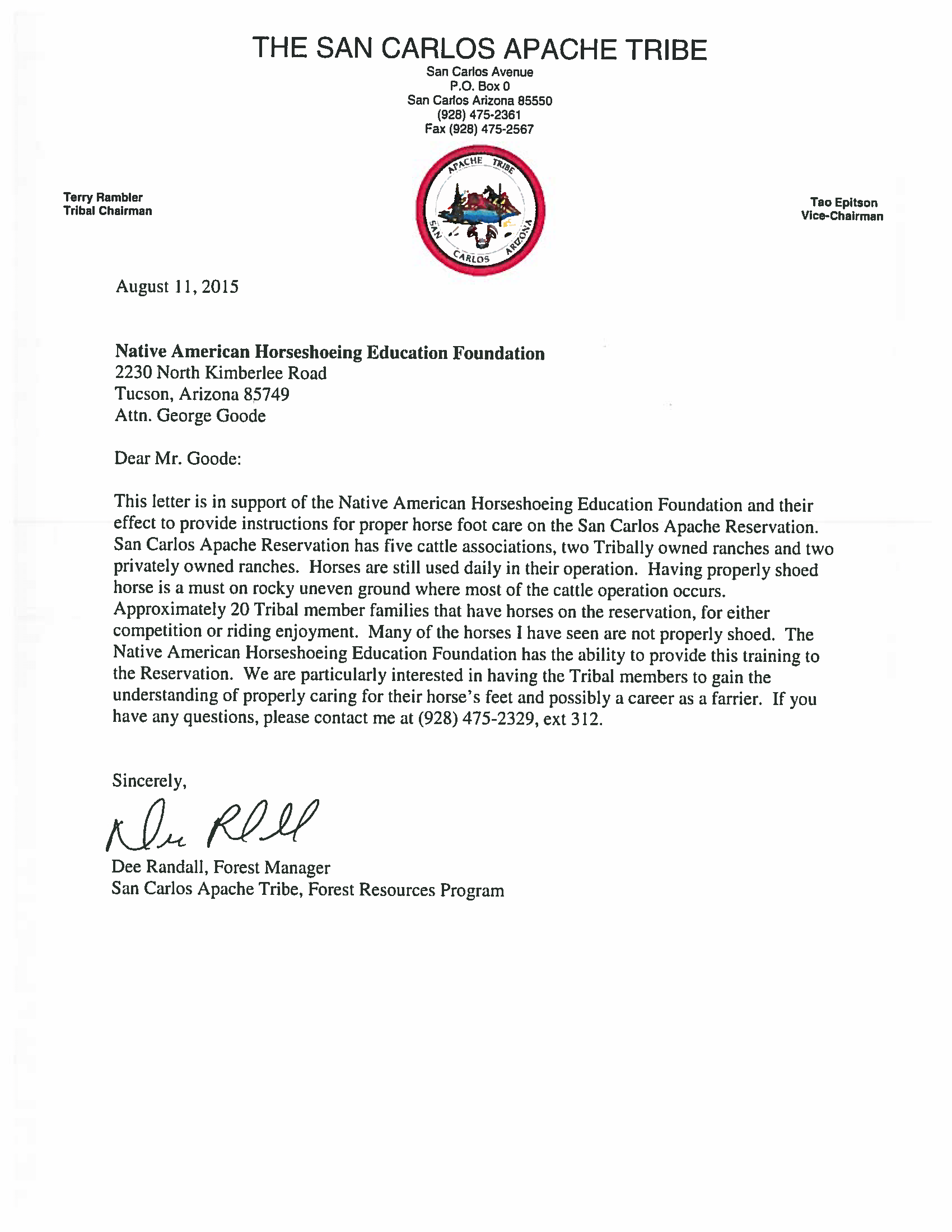 Letter of Support from the San Carlos Apache Tribe