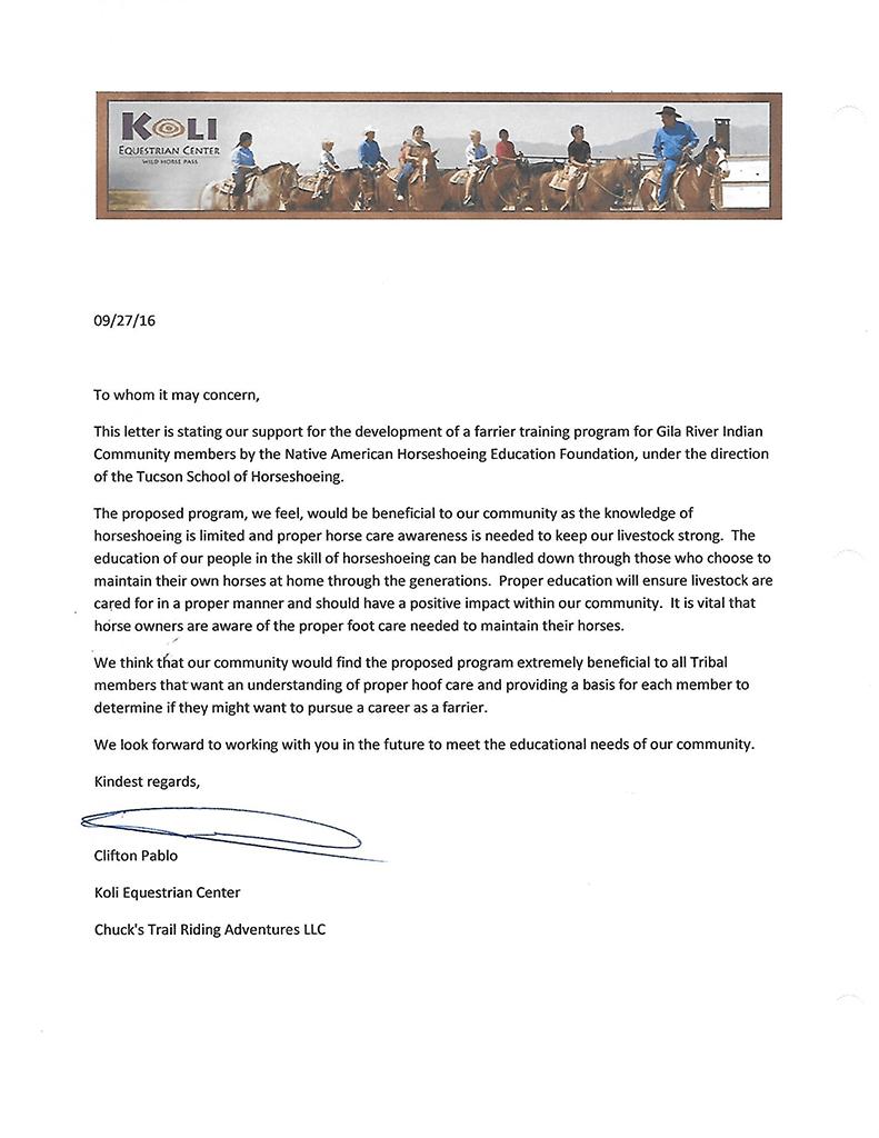 Koli Equestrian Center letter