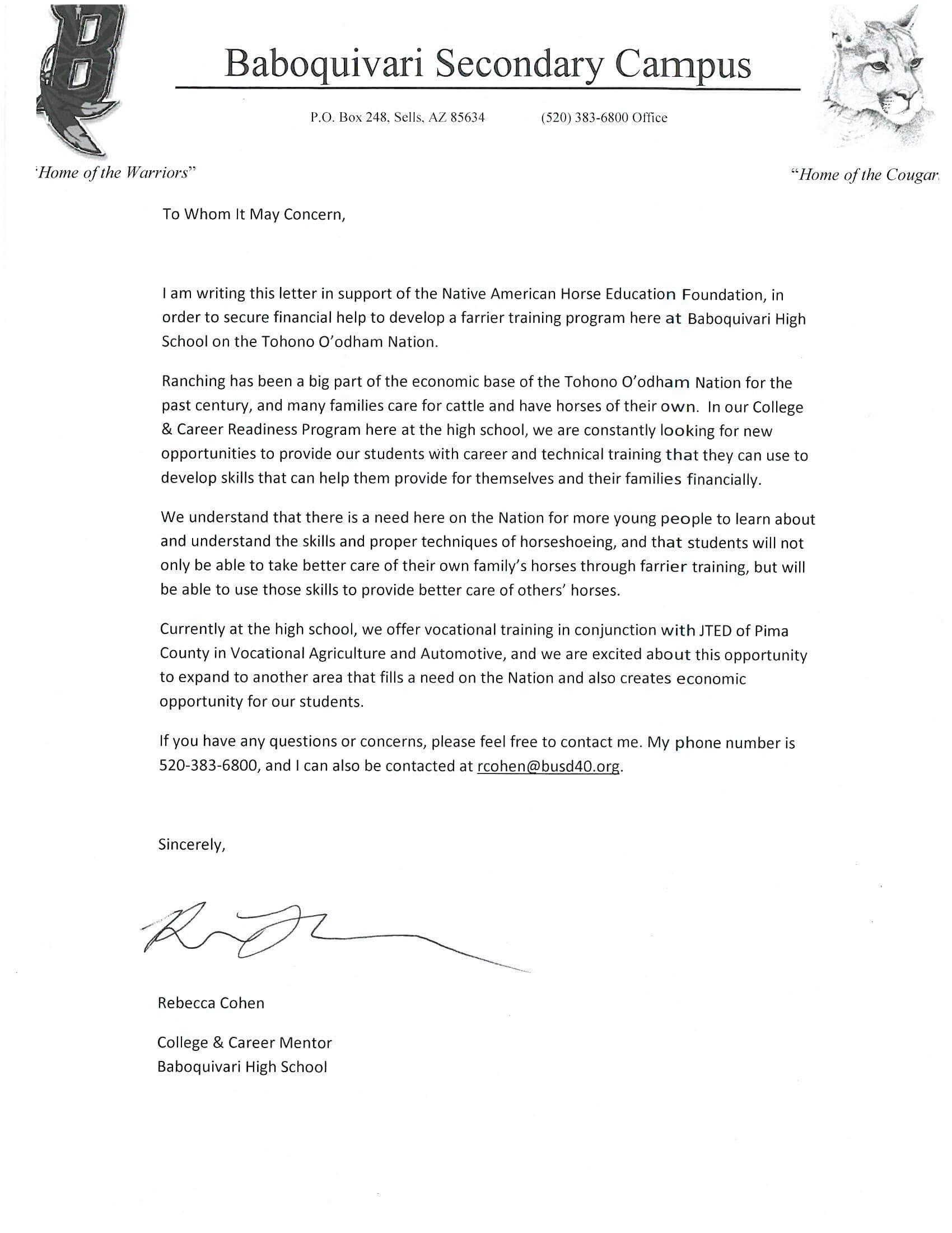 Baboquivari High School letter of support width=